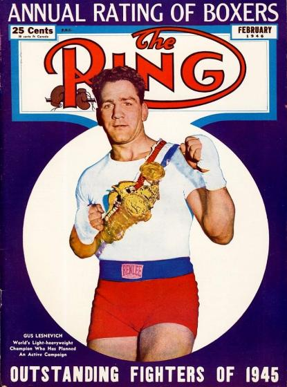 FEBRUARY_1946_Ring_Magazine_Cover_-_Illustration_Gus_Lesnevich_on_the_cover._